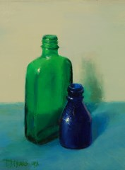 Blue and Green Bottles